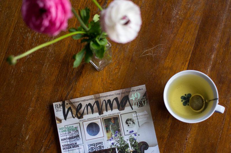 rum hemma magasin, rosa ranunkler från möllevångstorget, te i mon amie-kopp